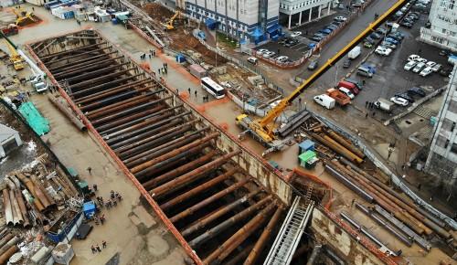 Строительство станции метро «Зюзино»: готовность южного участка БКЛ составляет 25 процентов