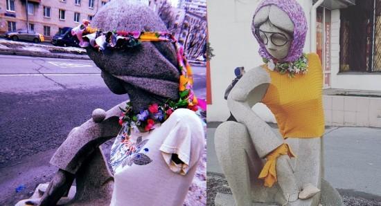 """Скульптура рядом с галереей """"Нагорная"""" сменила наряд"""