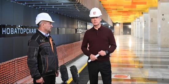 Собянин осмотрел ход строительства станции «Печатники» МЦД-2