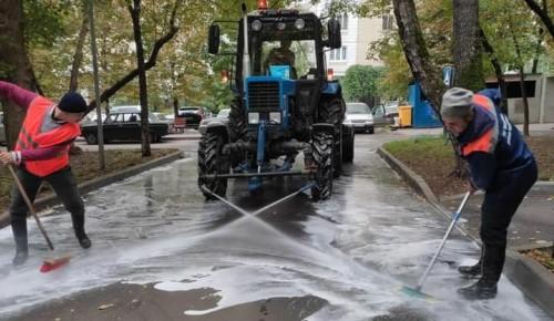 В Черемушках специалисты коммунальных служб промыли дороги и тротуары специальным шампунем